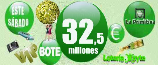 Este sábado Bote de Lotería Primitiva 32.5 millones